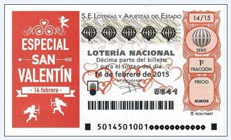 Valentine's Day Special Loteria National Raffle ticket