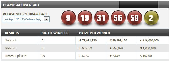 play usa powerball results 24th April 2013